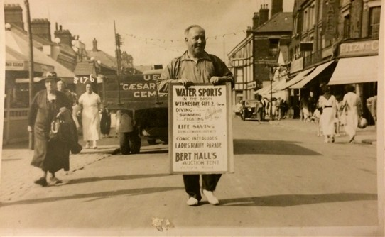 Photo:Bert at Mablethorpe advertising with an A Board-I suspect this was also to do with the High Dive act Aunt Ciss did.