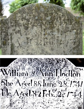 Photo:Gravestone marker enhanced by remote sensing