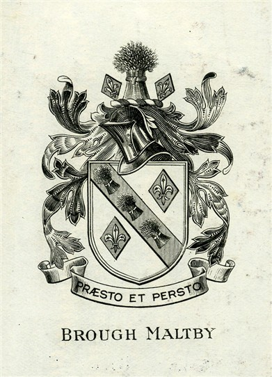 Photo:Bookplate of Brough Maltby (1826-1894), Canon of Lincoln, Archdeacon of Nottingham, and parish priest of St.Peter's church in Farndon near Newark.  The motto 'Praesto et Persto' may be translated as 'I stand firm and I stand first'.  (It mirrors the motto of Stowe public school which is 'Persto et Praesto')