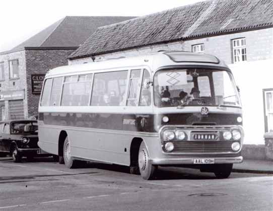 Photo:Bedford, Plaxton body.  H reg suggests c.1969