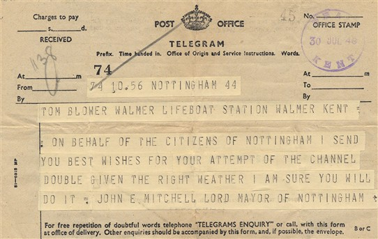 Photo:Telegram from Lord Mayor of Nottingham sending best wishes to Tom Blower on his attempt to swim the Channel, 1944