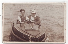 Photo:A young Bill Coyne with his father Frank Coyne at Skegness Boating Lakes Early 1950s