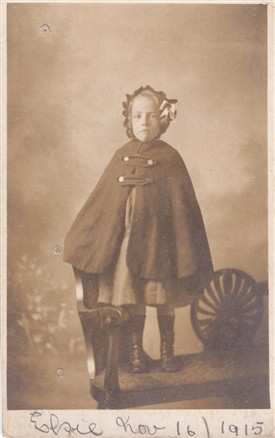 Photo:Tom Flower's younger sister, Elsie, aged 5, in 1915