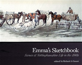 "Photo:Front cover of the book featuring Emma's watercolour ""Starting for the show at Retford, Sparken, 1842""."