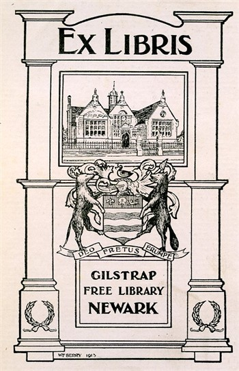 Photo:Bookplate of the Gilstrap Free Public Library, Newark-on-Trent, c1920s