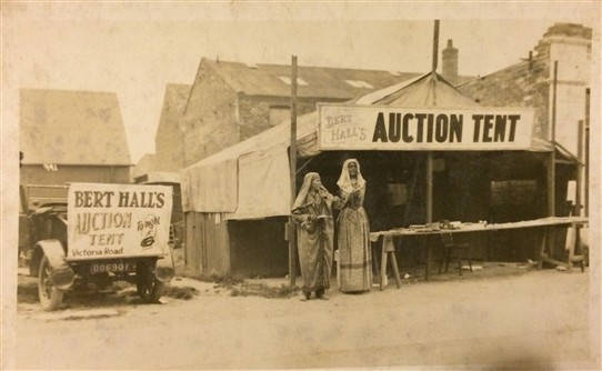 Photo:A view of the Auction tent at Mablethorpe and Family car taken in the 20's, my Grandma recalled riding in  the 'Dickie Seat' at the back of the car , I think my Aunt Ciss is the Lady in the picture.