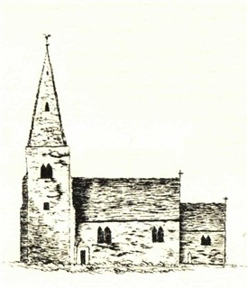 "Photo:Flawford/Flawforth church ""sketched from memory by a Mr Carver who was born at Ruddington"