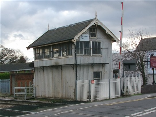 Photo:Signal box at west end of Worksop station