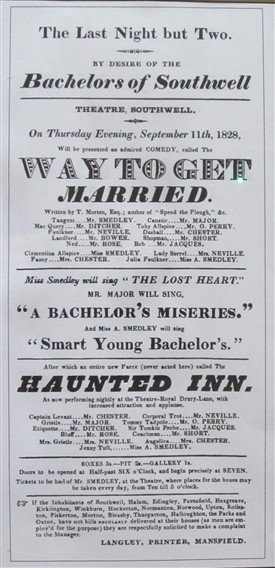 Photo:Southwell Theatre playbill from August 1828