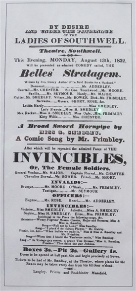 Photo:Southwell Theatre playbill from August 1832