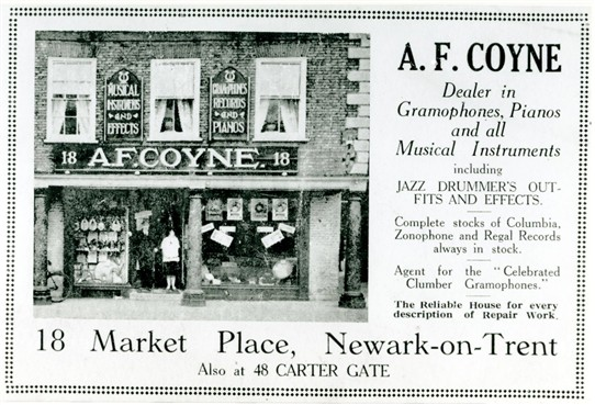 Photo:Publicity postcard advertising the opening on Wednesday 25th March 1925 of Coynes' new shop at No.18 Market Place, Newark (The Moot Hall).  Note that the old shop at No.48 Carter Gate is still listed at the bottom of the postcard