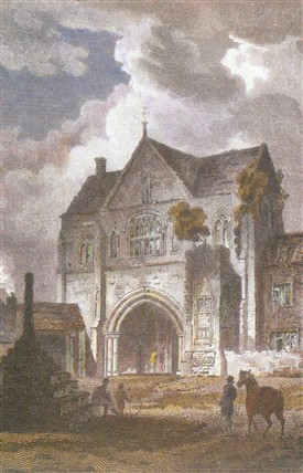 Photo:The Priory Gatehouse, Worksop, 1807.  Artist J.C. Smith, Engraved by W. Woolnorth