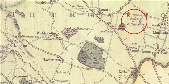 Photo:From Chapman's map of Nottinghamshire, 1774