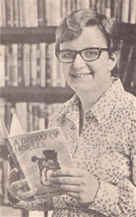 "Photo:Mary Oldham with her book ""A Dream of Horses"" in 1968"