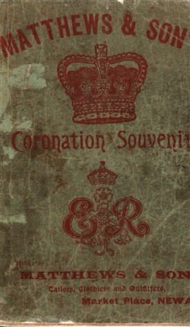 Photo:Front cover from a souvenir almanac published by Matthews to commemorate the coronation of Edward VIII (1902)