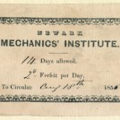 Photo:Book plate from the Newark Mechanic's Institute (located on Middlegate) dated 1855