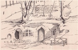 Photo:An illustration believed to be of one of the 'Rock Cottages' at Newstead, drawn in th early 20th century