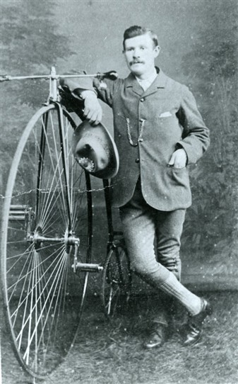 Photo:PICTURE 9 : Mr Francis of Bingham with a Penny-farthing bicycle, c.1900