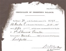 Photo:Certificate of Deserter's Balance