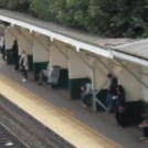 Photo:View of the unusual line side waiting carrels and benches at Beeston - wooden originals from 1847(?)