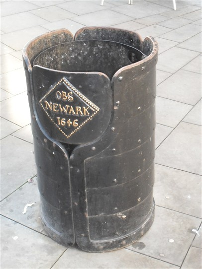Photo:Above & Below: NEWARK: The unique street litter bins of Newark-on-Trent, made of solid metal, and featuring gold embossed depictions of the coins which were minted in the town at the time of the Civil War, 1642 -46