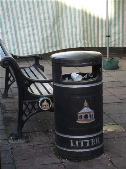 Photo:Above: BINGHAM: A depiction of the Buttercross in the Market Place appears on the town's litter bins (also on their sreet benches)