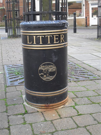Photo:Above: SOUTHWELL: Southwell Town Council logo on litter bins in Southwell