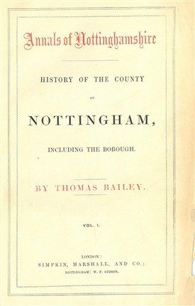 Photo:Title page of Volume 1 of Thomas Bailey's 'Annals of Nottinghamshire', 1852