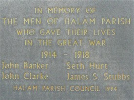 Photo:War memorial at Halam Primary School