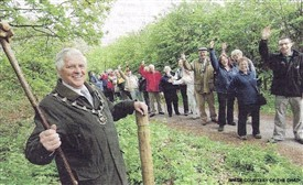 Photo:Celebrations with the then Sheriff of Nottingham at the launch of the newly waymarked boundary trail.
