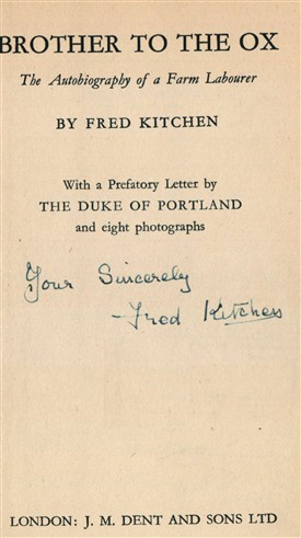 Photo:Title page of 'Brother to the Ox' signed by Fred Kitchen
