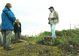 Photo:Members of the group on the day it was realised that the boundaries met on Thynghowe Hill, and discovered the much older stone shown in the photograph