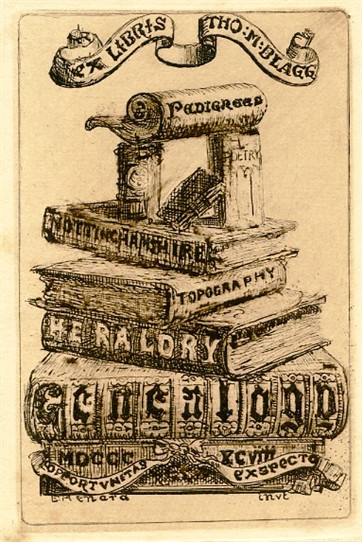 Photo:Bookplate of Thomas M. Blagg