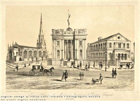 Photo:Trinity Square Nottingham showing Holy Trinity church, The Mechanics Institute and the Baptist Chapel, 1853