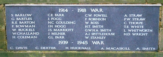 Photo:Names on the Farnsfield War Memorial