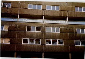 Photo:The Flats shortly before they were demolished