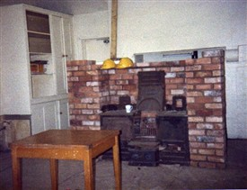 Photo:The false brick wall half built in the kitchen of Beesthorpe Hall
