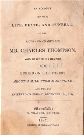 Photo:Title page from an early published account of the life of Charles Thompson.  Written anonymously, it was published in 1847.