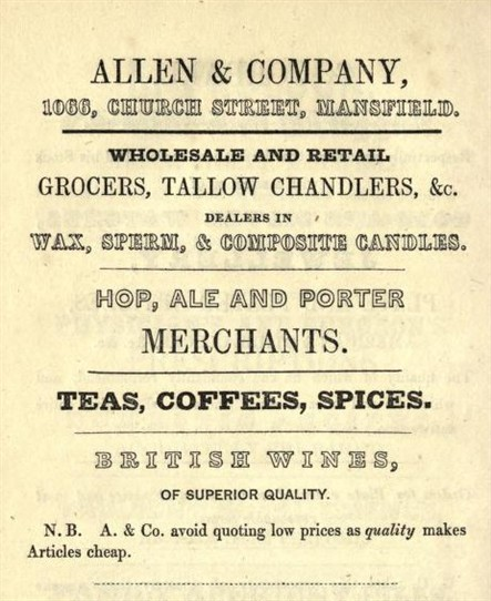 Photo:Advert dated 1850 (From ANON 'A Visit to Sherwood Forest' (Mansfield: Collinson, 1850)